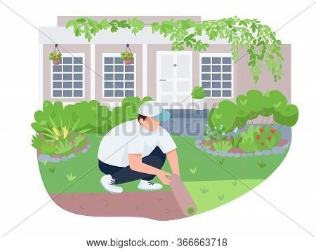 Courtyard Greening, Lawn Care 2d Vector Web Banner, Poster. Man With Roll, Gardener Flat Characters