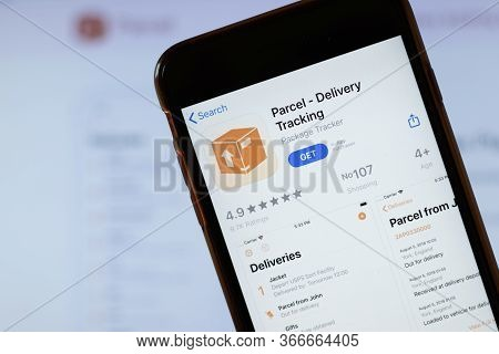 New York, Usa - 15 May 2020: Parcel Delivery Tracking Mobile App Logo On Phone Screen, Close-up Icon