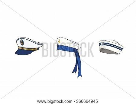 Marine Hat Set. Sea Forces Captain Cap, Sailor Hat. Boat Crew Uniform. Vector Graphic Illustration I