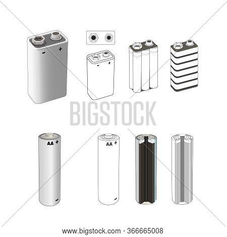 Battery Inside Scheme Set. Aa Alkaline Or Lithium Single Cell Battery Scheme, 9 Volt Nickel. Isolate