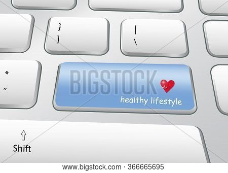 Healthy Lifestyle Concept . Pc Keyboard With Blue Button With The Inscription Healthy Lifestyle.