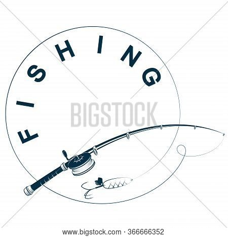 Silhouette Fishing Rod With Fishing Line Illustration