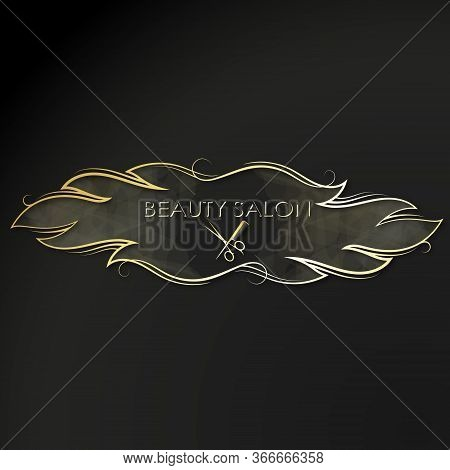 Scissors With Comb And Golden Curls Of Hair Symbol For A Beauty Salon