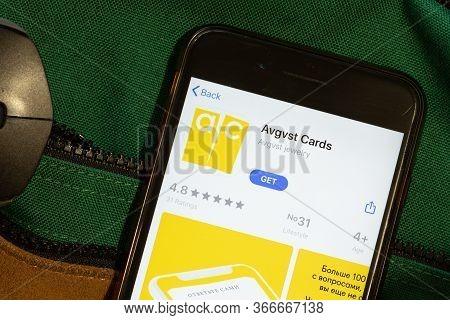New York, Usa - 15 May 2020: Avgvst Cards Mobile App Logo On Phone Screen, Close-up Icon, Illustrati