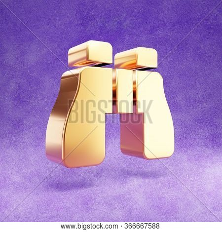 Binoculars Icon. Gold Glossy Binoculars Symbol Isolated On Violet Velvet Background. Modern Icon For