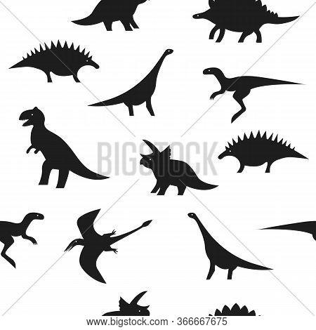 Seamless Black And White Dino Pattern. Dinosaur Silhouettes On White Background For Textile, Print,