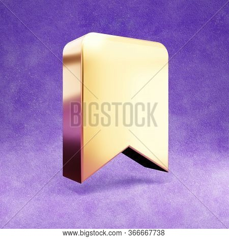Bookmark Icon. Gold Glossy Bookmark Symbol Isolated On Violet Velvet Background. Modern Icon For Web