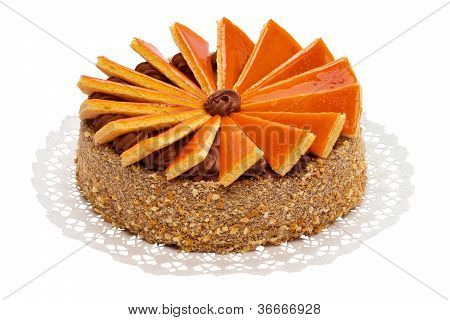 Big sized famous Hungarian Dobos torte - cake with special frosting - isolated on white and with path poster