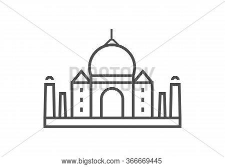 Taj Mahal Icon Vector From World Landmarks Collection. Thin Line Taj Mahal Outline Icon Vector Illus