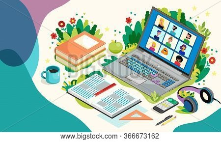 Online Education With Laptop And Pupils. Distance Learning. Vector Illustration. Teleconference Web