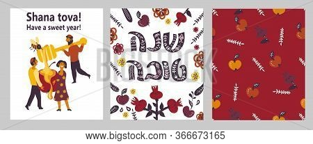 Cards With Shana Tova Happy New Year Greeting And People For Rosh Hashanah Vector.