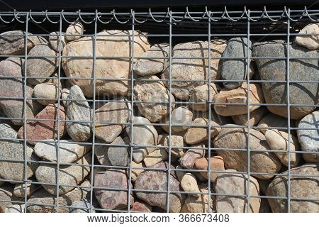 Gabion Fence Wall From Steel Mesh With Stones . Gabion Wire Mesh Fencing
