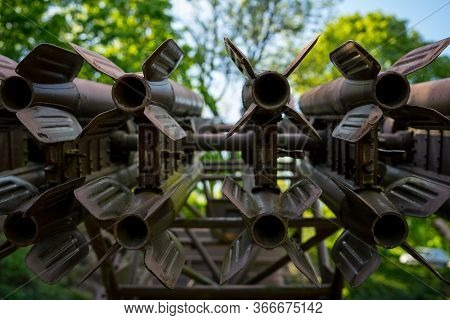 Seelow, Germany - May 09, 2020: Tail Stabilizers Of M13 Rocket For The Katyusha Launcher. The Katyus