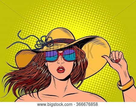 Beautiful Woman In A Wide Brimmed Hat And Sunglasses. Pop Art Retro Vector Illustration Vitch Vintag