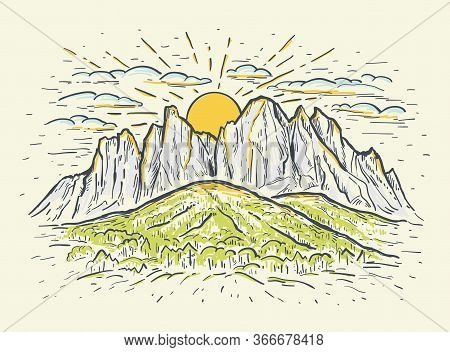 Hand Drawn Color Sketch Vector Illustration With A Mountains, Cliff And Sunrise Or Sunset. Vintage R