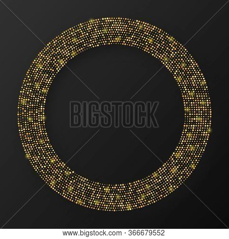 Abstract Gold Glowing Halftone Dotted Background. Gold Glitter Pattern In Circle Form. Circle Halfto