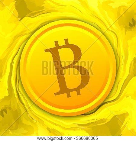 Bitcoin Coin On Liquid Digital Gold Background