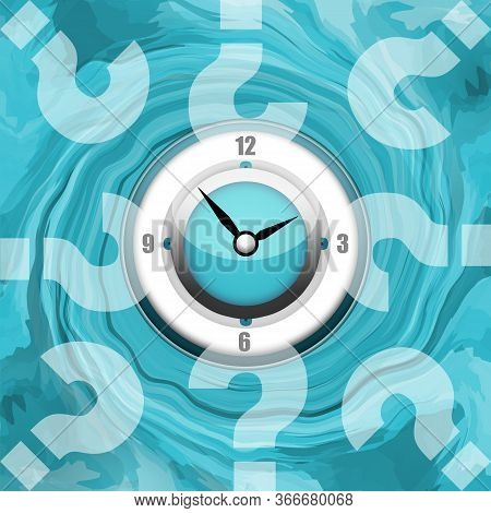 Clock And Question Marks On Whirlpool Background