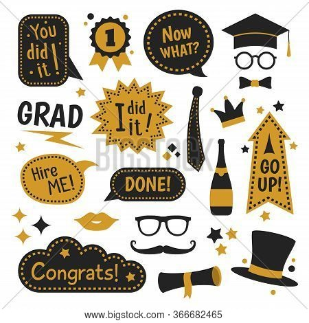 Graduation Photo Booth Flat Icon Collection. Graduating Funny Stickers, School Party Props, Speech B