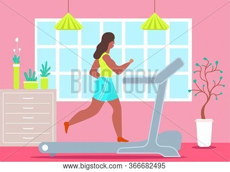 Girl Treadmill At Home. Happy Woman Jogging During Quarantine Treadmill At Home Sports Girl Is Joggi