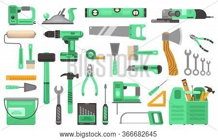 Construction Repair Tools Set. Branded Elite Toolkit Drill Green Drill Angle Grinder Hand Saw Wrench