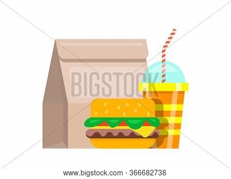 Paper Bag Lunch Fast Food. Bag Food Juicy Fresh Hamburger Striped Glass Soda With Straws Nutritious
