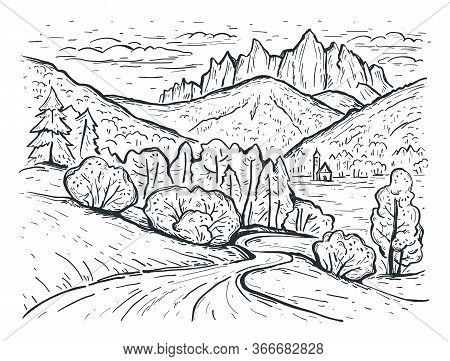Landscape Sketch. Santa Maddalena. Dolomites Mountains, Italy, Europe. Engraving Style. Hand Drawn V