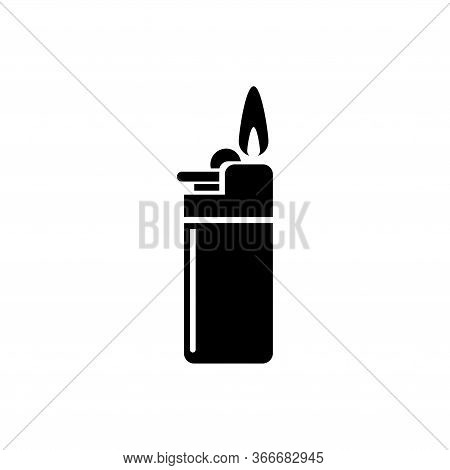 Lighter Fire, Gas Flame Tool, Smoker Equipment. Flat Vector Icon Illustration. Simple Black Symbol O