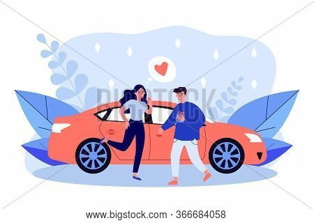 Happy Couple Dating Meeting At Car. Dating, Giving Gift, Anniversary Flat Vector Illustration. Roman