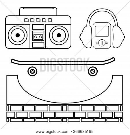 Skateboarding Icon Set. Vector Illustration With Headphone, Skateboard, Boombox, Hat Etc. Skateboard