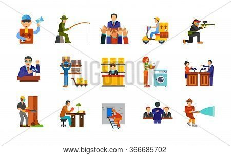 Occupation Icon Set. Mailman Fisherman Electorate Courier Paintball Player Politician Mail Worker Po