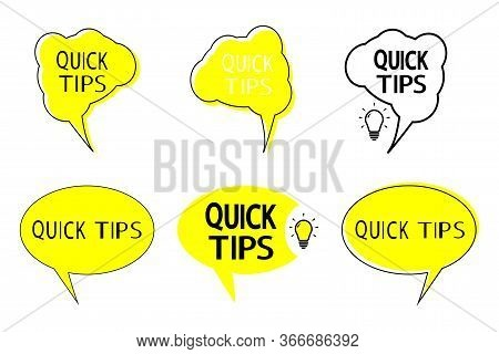 Quick Tips. Abstract Banners With Useful Information, Idea Or Advice. Set Of Quick Tips, Helpful Tri