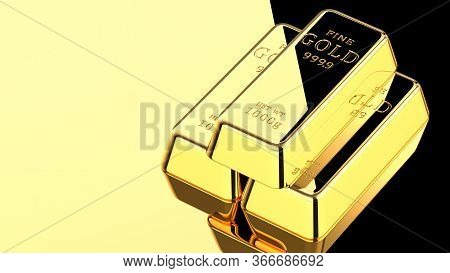 3d Rendering Illustration Of Three Gold Bars On A Golden Surface With Black Reflection. Stack Of Gol