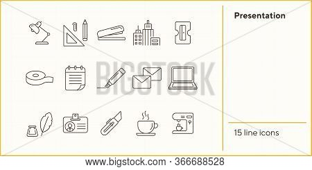 Presentation Icon Set. Line Icons Collection On White Background. Supply, Stationary, Workspace. Off