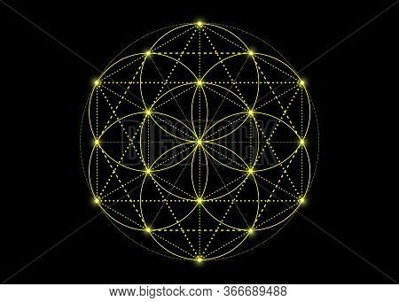Seed Of Life Symbol Sacred Geometry. Yellow Mystic Mandala Of Alchemy Esoteric, Flower Of Life. Vect