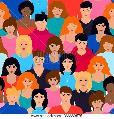 Modern Multicultural Society Seamless Pattern. Group Of Different People Come Together After Quarant