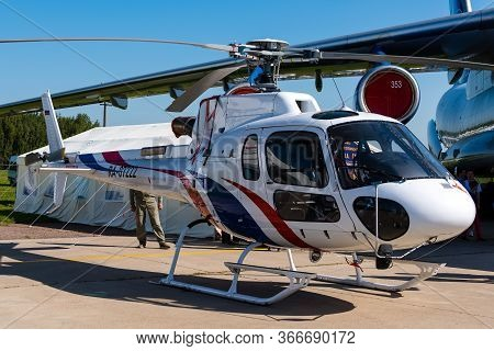 August 30, 2019. Zhukovsky, Russia. French Multirole Helicopter Eurocopter As350 Ecureuil At The Int