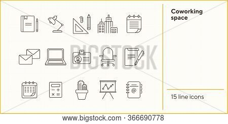Coworking Space Icon Set. Line Icons Collection On White Background. Document, Supplies, Stationary.
