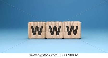 Www Website - Text Concept On Wooden Cubes With Gradient Blue Background