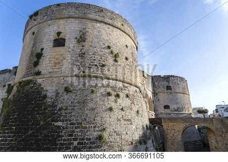 Otranto, Apulia, Italy. The Aragonese Castle Is The Defensive Stronghold City Of Otranto. A Historic