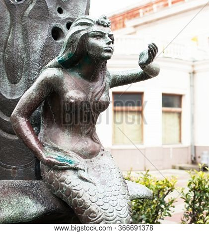 Monument To The Mermaid. Mermaid Sculpture In The Park