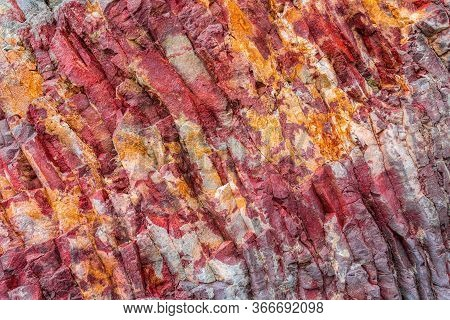Red Orange Abstract Background. Toned Mountains Texture, Volcanic Basalt As In Iceland. Lush Lava Co