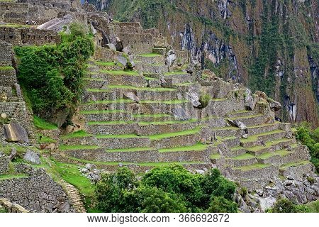 The Ruins Of Inca Structures Inside Machu Picchu Citadel, Incredible Unesco World Heritage Site In C