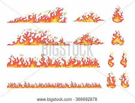 Red And Yellow Flame Set. Hot Fire, Blazing, Burning, Wildfire, Bonfire, Igniting, Campfire, Spread.