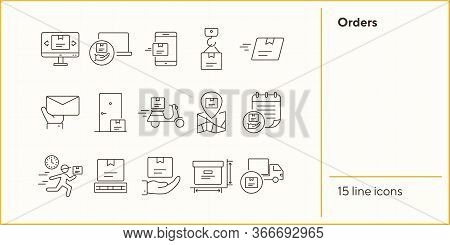Orders Icons. Set Of Line Icons. Mobile Parcel, Delivery Scooter, Delivery Location. Delivery Concep
