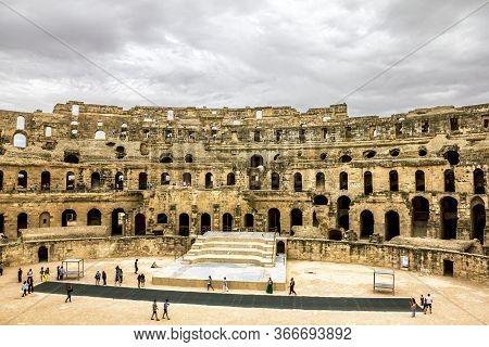 El Jam.tunisia.may 21, 2013.roman Amphitheatre In The City Of El Jem In Tunisia.
