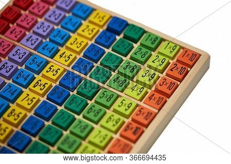 Multiplication Table . Macro Mode. Colored Wooden Cubes. Teaching Children Math And Numeracy. Mental