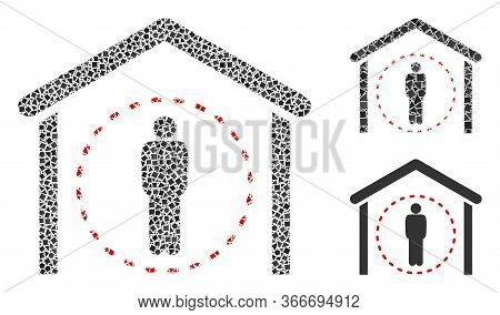 Mosaic Home Quarantine Icon Composed Of Tuberous Spots In Variable Sizes, Positions And Proportions.