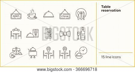 Table Reservation Line Icon Set. Dish On Cart, Catering, Location Pointer Isolated Outline Sign Pack