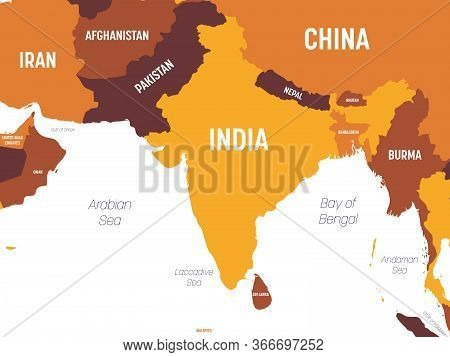 South Asia Map - Brown Orange Hue Colored On Dark Background. High Detailed Political Map Of Souther